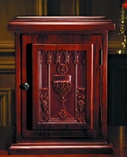 Maple Hardwood Tabernacle with Carved Chalice in Walnut Stain Finish, 20 Inch by Robert Smith