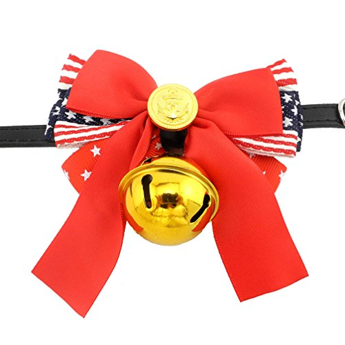 - Ranphy American Flag Dog Collar Padded Leather Collar with Bell Bowknot Cat Necklet Adjustable Patriotic Necklace 4th of July Decor M