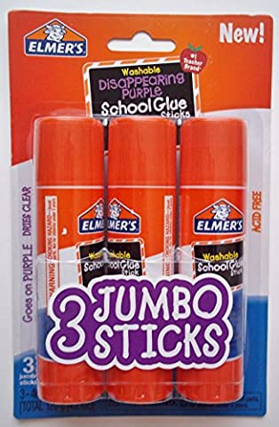 Elmer's Jumbo Glue Stick (3 Pack) 1.4 oz (40g) each - Washable Disappearing Purple (On Amazon Premium Dry)