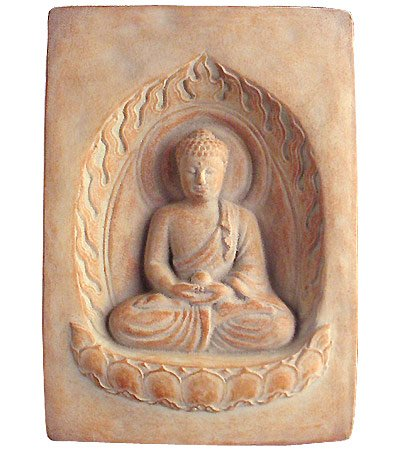 Stone Cast Plaque - Buddha Cast Stone Garden Wall Plaque - Indoor/Outdoor, Made in USA