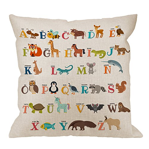 Animal Colorful Zoo - HGOD DESIGNS Alphabet Pillow Cover,Decorative Throw Pillow Alphabet Cute Zoo with Animals Pillow cases Cotton Linen Outdoor Indoor Square Cushion Covers For Home Sofa couch 18x18 inch Colorful