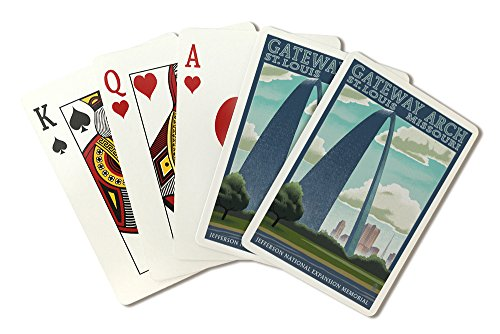 - St. Louis, Missouri - Gateway Arch Lithography Style (Playing Card Deck - 52 Card Poker Size with Jokers)