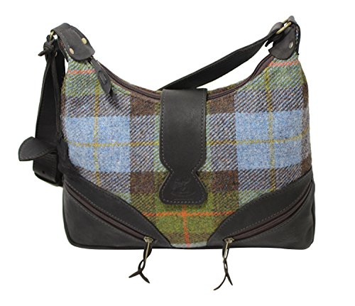 (Wild Scottish Deerskin Designer Leather Blue and Green Tartan Check Harris Tweed Large Lola Handbag)