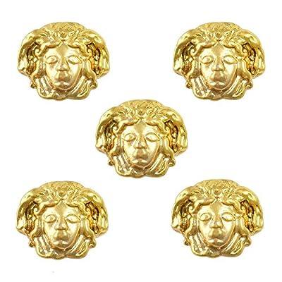 Kamas Egypt006 100pcs Medusa Image Egypt Theme 3D Gold Nail Art Alloy Decorations : Garden & Outdoor