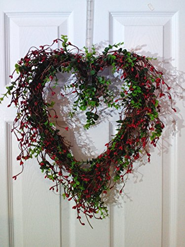 Rustic Red Pip Berry Wreath Twig Berry Heart Wreath