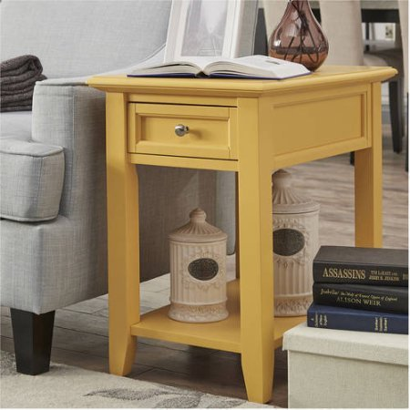 End Table with Power Outlet, Banana Yellow by Chelsea Lane
