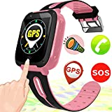 Kids Smart Watch Smart Wrist Watch Phone for 3-12 Year Old with GPS Tracker SOS Camera Sim Card Slot Game Touch Screen Smartwatch Educational Toys Back to school for Boys Girls (Pink)