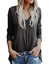 Womens Henley Shirts Fall V Neck Button Long Sleeve Loose Casual Knit Sweaters Tops