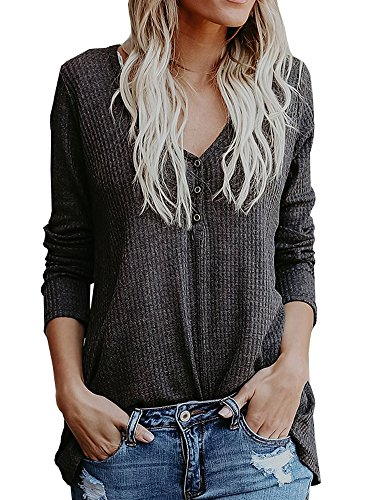 Apparel Henley - Chuanqi Womens Henley Shirts V Neck Button Long Sleeve Loose Casual Knit Sweaters Tops