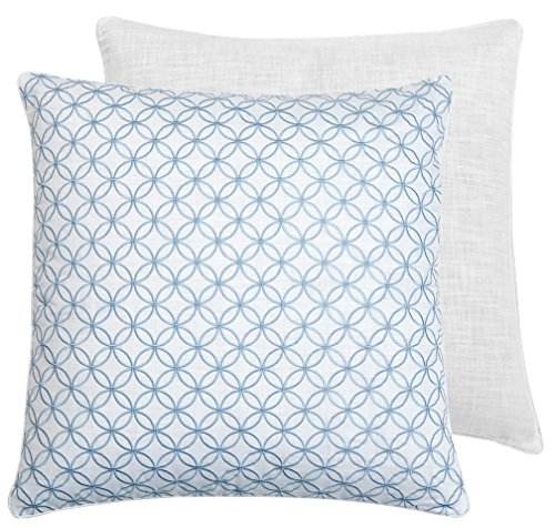 Croscill Cape May European Pillow Sham, Embroidered Light Blue Euro, 26-inch x 26-inch Croscill White Sham