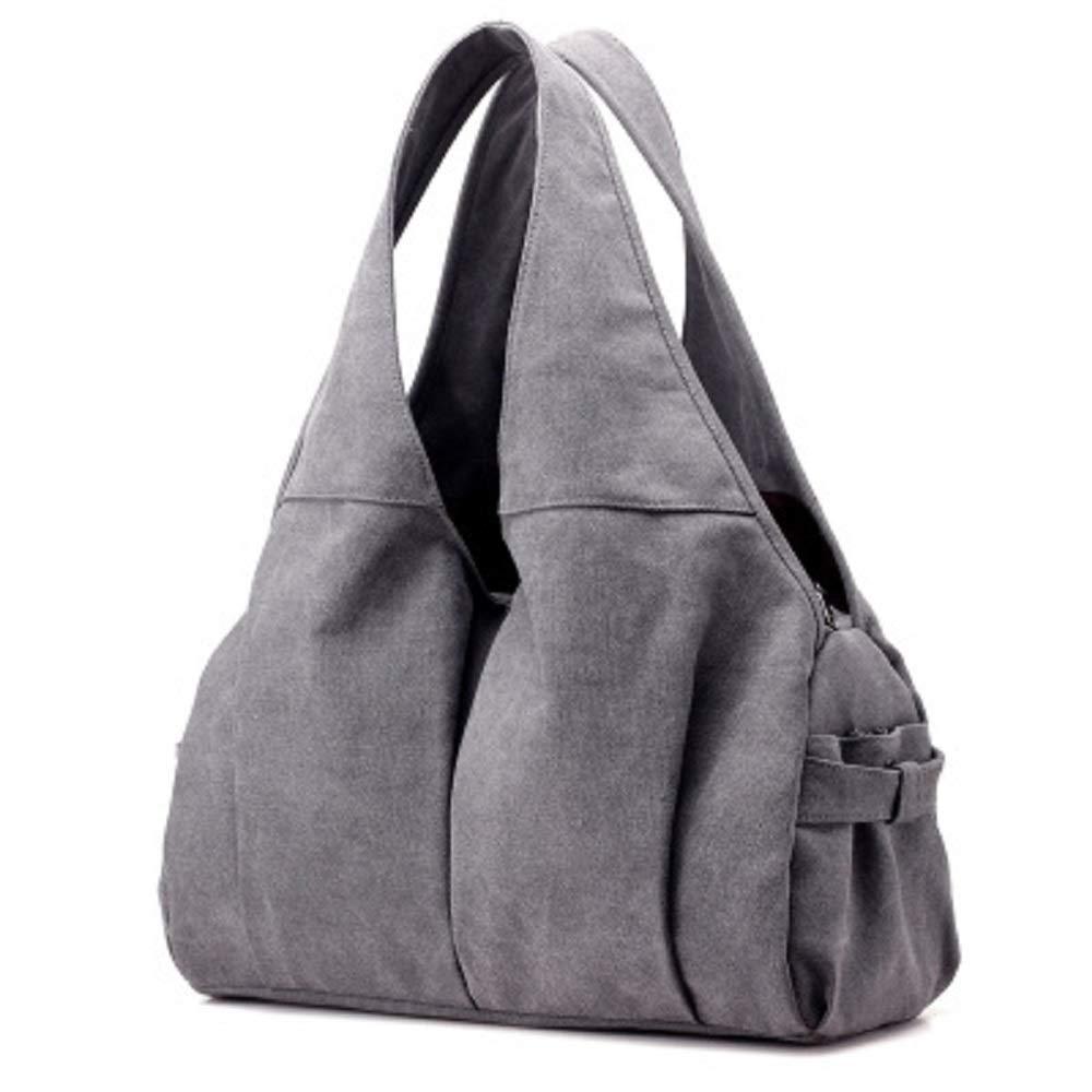 Qiusa Doppeltes reißfestes Gewebe-Damen-Segeltuchtasche Weinlese-Weibliche Handtasche mit großer Kapazität Kapazität Kapazität Beiläufige Handtasche (Farbe   Grau) B07G5RK1BK Umhngetaschen Hochwertige Materialien 6cd393