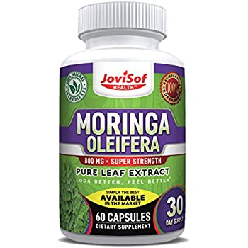 Premium Moringa Oleifera 800mg Pure Leaf Extract | Philippines Malunggay | Green Superfood Energy Pills | Aids in Weight Loss, Diet Moringa Capsules, Energy Booster & Mood Extract | 60 Count