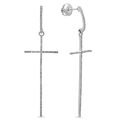 a4bb20327 Image Unavailable. Image not available for. Color: Dazzlingrock Collection  0.21 Carat (ctw) 14K Round Diamond Ladies Cross Shaped Dangling Drop  Earrings