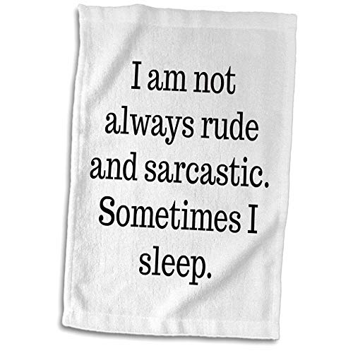 3dRose 3DRose Gabriella-Quote - Image of I Am Not Always Rude And Sarcastic Sometimes I Sleep Quote - 15x22 Hand Towel (twl_317833_1)