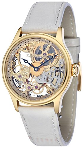 Thomas Earnshaw Womens The Bauer Mechanical Skeleton Watch - Cream/Gold