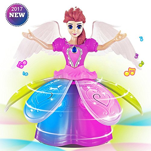Girl Dancing Walking Moving Princess Music Doll Barbie Dance Spin Ballerina Electronic Music Doll with LED Colorful Light, Electronic Dancing Music Robot, Best Gift for Girls, No Battery (B)