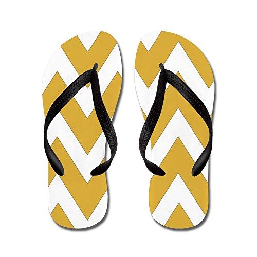 CafePress Mustard Yellow Chevron Stripes - Flip Flops, Funny Thong Sandals, Beach Sandals Black