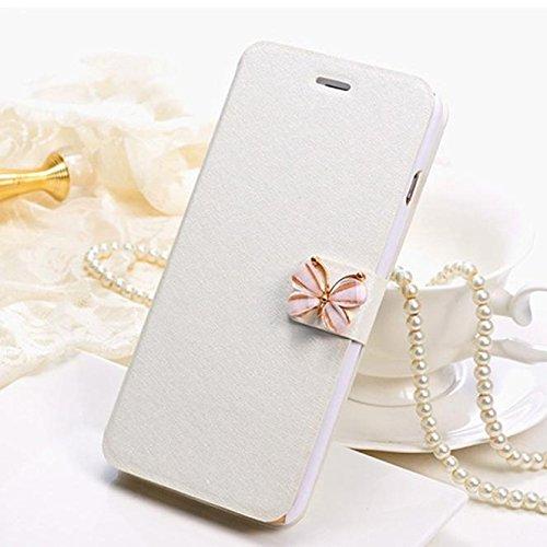 Funda Cuero iPhone 6, Magiyard Cubierta magnética delgada de cuero de la caja de la cartera para iPhone 6 / 6s4.7inch (Blanco) Blanco