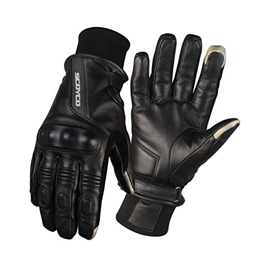 SCOYCO MC31 Goat Leather Motorcycle Gloves For Men Winter Keep Warm Wind Leather Gloves MOTO Racing Touch Screen Gloves (Large)