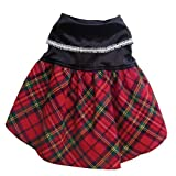 Elegant Velvet Holiday Dress with Sparkling Trim and Plaid Skirt – S, My Pet Supplies