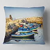 Designart CU11077-26-26 Ancient Phoenician Port Africa' Landscape Printed Throw Cushion Pillow Cover for Living Room, Sofa, 26 in. x 26 in, Pillow Insert + Cushion Cover Printed on Both Side