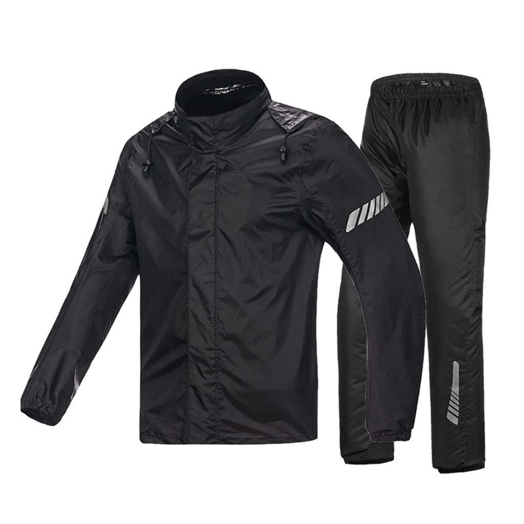 LYP-Rainwear Regenmantel Anzug Männer Split-Typ (Reflexstreifenoberteil + atmungsaktive Hose) Lokomotive einzeln Reflektierender Regenmantel Motorrad Fahren Angeln