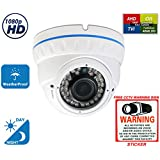 Evertech 2.1MP 1080P HD Day Night Vision Manual Zoom Outdoor Indoor Dome CCTV Security Camera Compatible AHD TVI CVI and Traditional Analog DVRs with Free CCTV Warning Sign (1 pc. 1080P)