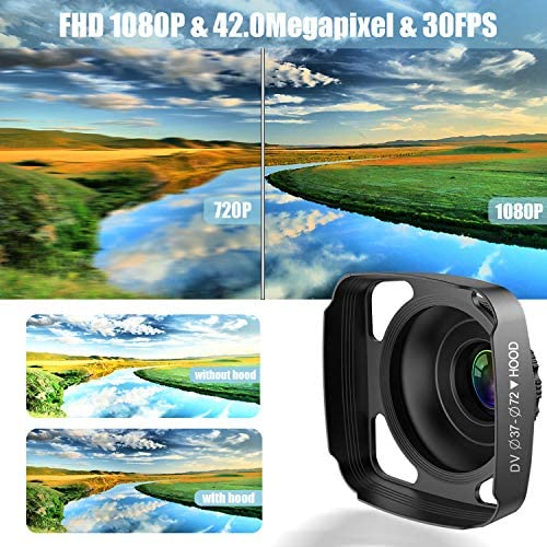 Video Camera Camcorder with Microphone, VideoSky 42MP HD 1080P 30FPS Digital Recording Camcorders for YouTube 64 GB Memory Card Vlogging IR Night Webcam Time-Lapse Slow Motion,Touch Screen, Lens Hood 5192EzGvQ L