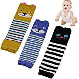 Kakalu Baby Knee Pads for Crawling, 3 Pairs Breathable Unisex Toddler Cute Animal Leg Sleeve Warmers Thermal Infant Knee Pads Safety Protector Elbow Kneepads Baby Boots Socks + Gift