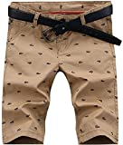 HENGAO Men's Casual Classic Fit Bermuda Chino Flat Front Shorts, Khaki, US 36 = Tag 38