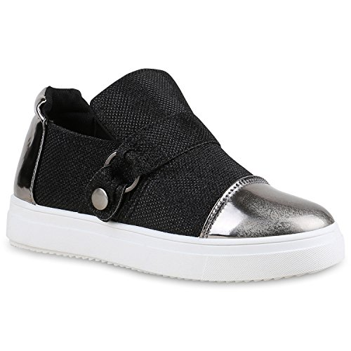Stiefelparadies Damen Sneaker Low mit Plateau Metallic Zipper Flandell Schwarz Brooklyn