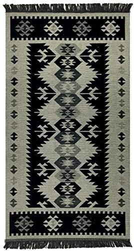 Demmex Traditional Bohemian Turkish Area Rug Kilim, Washable, Double Sided (2.7 x 5 ft, Grey Black)