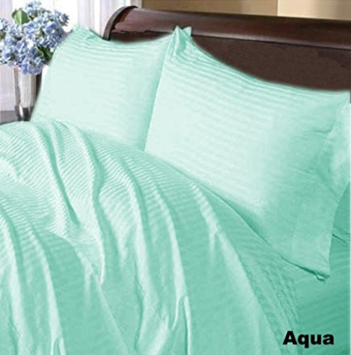 Nile Bedding Collection Luxury Hotel Bed Sheets Set Egyptian Cotton 600 Thread Count Sateen 5 PCs Sheets -Fitted Sheet Fit up to 29 Deep Pocket Aqua Blue Striped Adjustable Split-King Size.