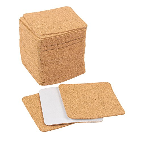 Self-Adhesive Cork Squares - 50-Pack Cork Tiles, Cork Backing Sheets for Coasters and DIY Crafts ()