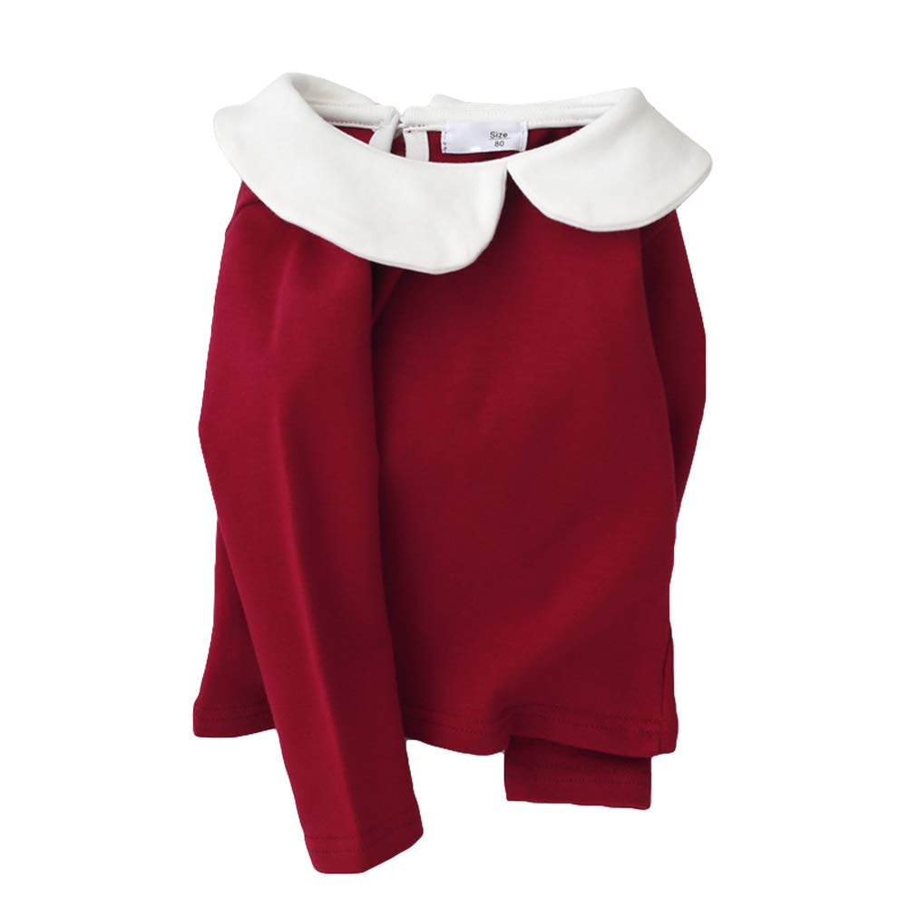 HZYBABY Todder Infant Baby Girls 100/% Organic Cotton Long Sleeve Cute Crew-Neck T-Shirt Solid Color