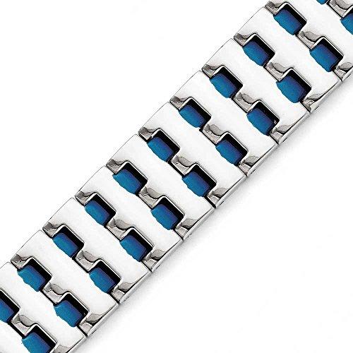 """En acier inoxydable Bleu-Bracelet plaqué Ip JewelryWeb - 8 """""""