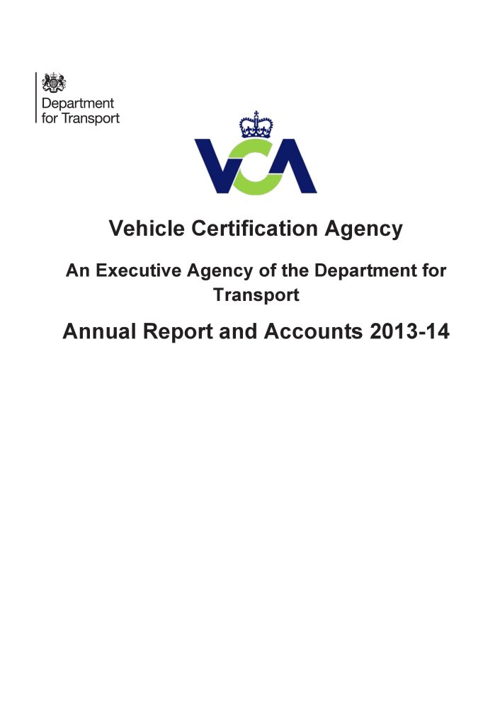 Vehicle Certification Agency annual report and accounts 2013-14 (House of Commons Papers) pdf epub