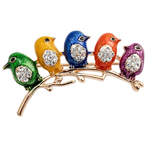 Szxc Jewelry Enamel Easter Crystal Newborn Bird Lapel Brooch Pin Costume For Her ()