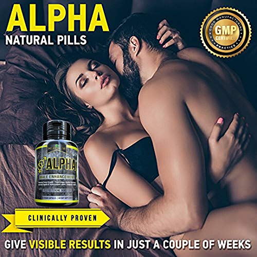 Natural Alpha Male Supplement Pills - Testosterone Booster Increases Energy, Mood & Endurance - Most Potent & Powerful Male Performance Supplement 60 Vegetable Cellulose Capsules