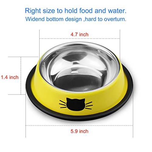 Comsmart Stainless Steel Pet Cat Bowl Kitten Puppy Dish Bowl with Cute Cats Painted Non-Skid for Small Dogs Cats Animals (Set of 2) (Yellow/Yellow) by Comsmart (Image #5)