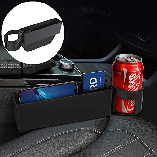 Sunaccl Organizador de espacio para asiento de coche, multifuncional, bolsillos de almacenamiento para asiento de coche, caja de asiento delantero con soporte para taza de coche, consola de bolsillo lateral para teléfono móvil, cartera, soporte para tazas, varias tarjetas