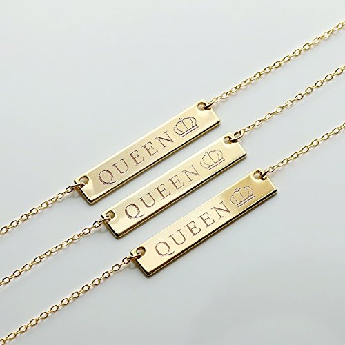 Gold Queen Necklace Name Plate Bar Gold Necklace Birthday