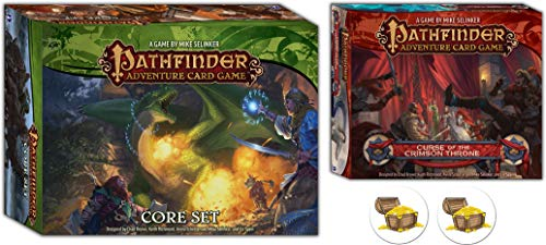 Bundle of Pathfinder Adventure Card Game Core Set and The Curse of The Crimson Throne Expansion Plus Two Treasure Chest Buttons