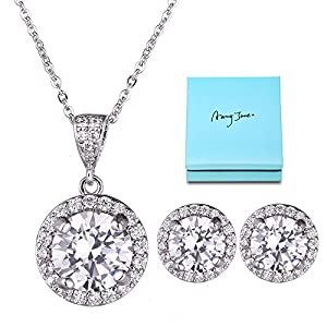 AMYJANE Halo Crystal Jewelry Set – Sterling Silver Round Cubic Zirconia Crystal Bridal Pendant Necklace Earrings Set for Wedding Bride Bridesmaids