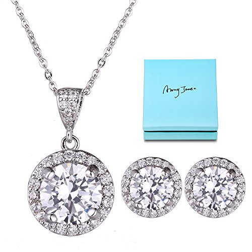 Round Necklace Earring Set - AMYJANE Crystal Jewelry Set Bride Bridesmaid- Sterling Silver Round Cubic Zirconia Crystal Bridal Pendant Necklace Earrings Set for Women by