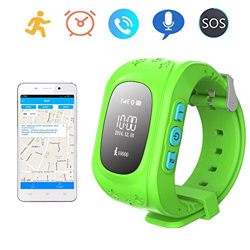 Smart Watch GPS Tracker for Children Two Way Communication GPS lbs AGPS Location Student/Kids with Pedometer Fitness Q50 (Green)
