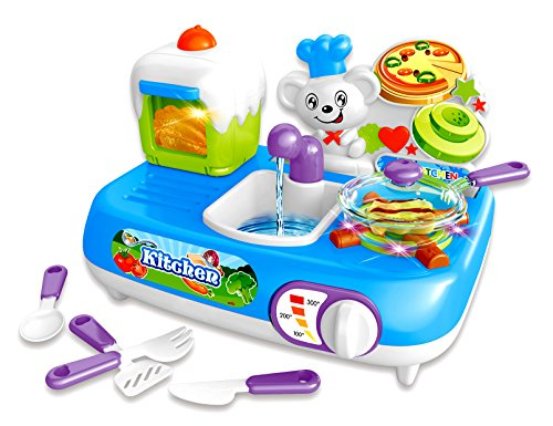 PowerTRC Mini Kitchen Set | Color Changing Foods | Realistic Sounds | Pretend Play Mini Kitchen Set For Kids | Kitchen Sink