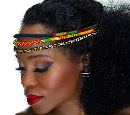 African Headband | Red, Black, Green Kente 3 Strand Headband | African Print Headband | Natural Hair | Cloth & Cord ()