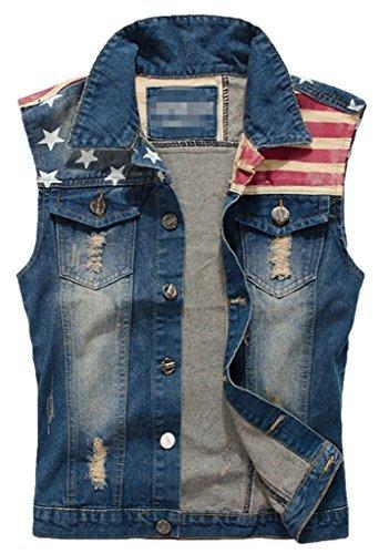 Sawadikaa Men's Vintage Denim Vest Jean Jacket Waistcoat Cowboy Jacket Outerwear Flag X-Small