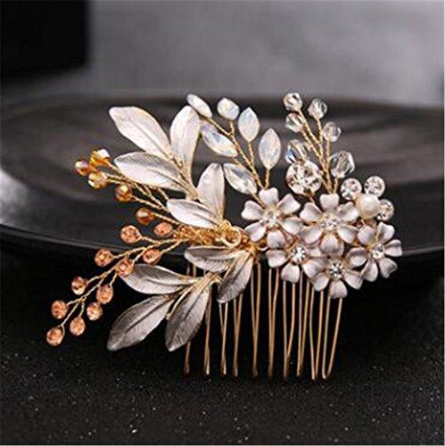 (Leaf Headband Baroque Bridal Hairbands Crown Headpiece Headdress Wedding Hair Accessories Bride Tiara Jewelry gold1)